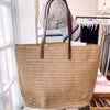 Leather Handle Straw Beach Tote