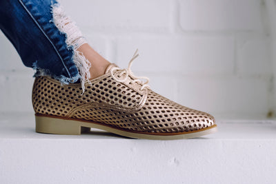 Woody Metallic Oxfords