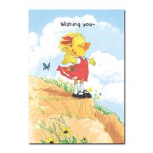 Suzy Ducken enjoys the warm, fragrant breezes up on Windy Hill in this Suzy's Zoo friendship greeting card.