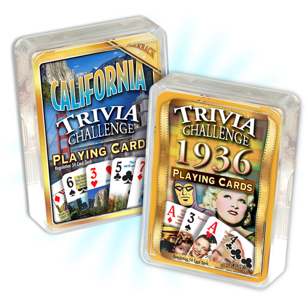 1936 Birthday Trivia Combo: 1936 Trivia Playing Cards & California Trivia Playing Cards