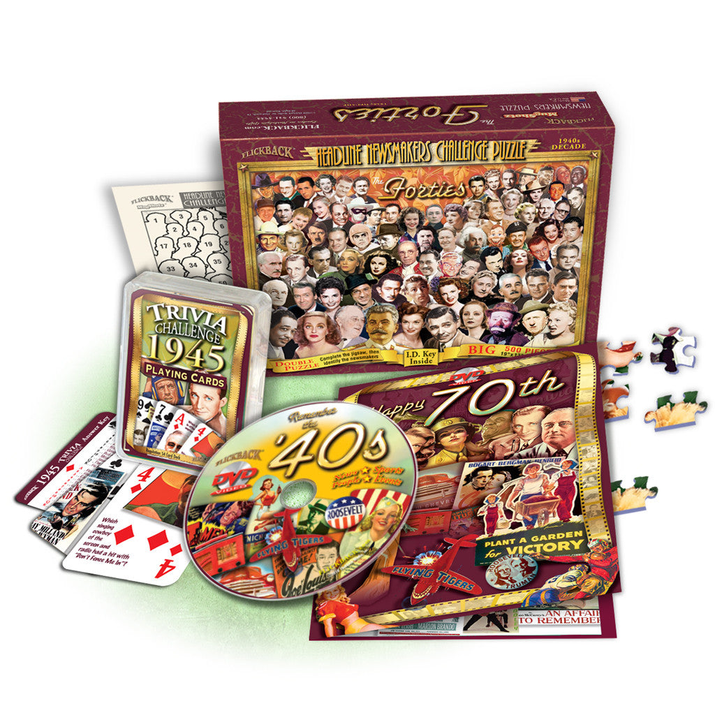 Great Birthday Gift Set: 1940's Decade DVD, 1940's Decade Newsmaker Puzzle & 1945 Trivia Playing Cards