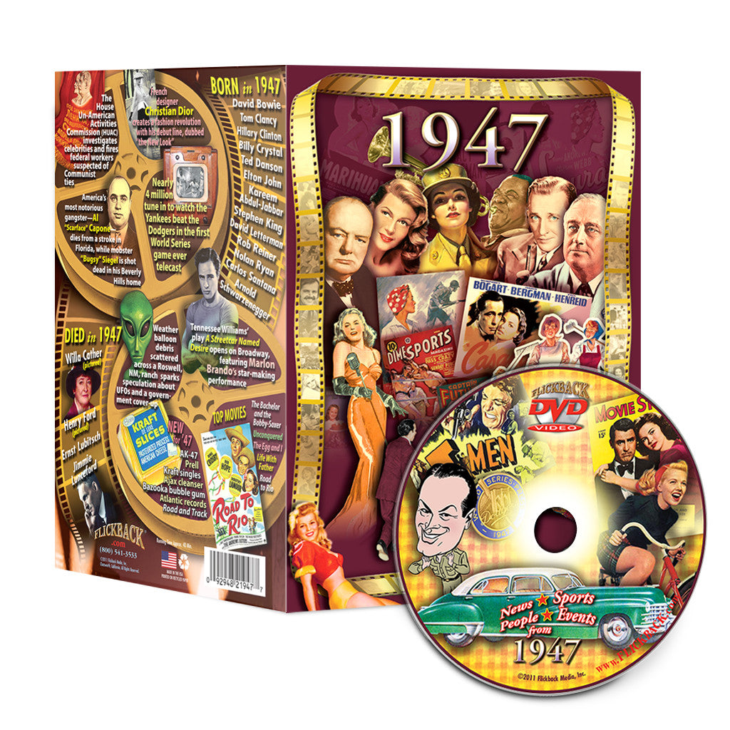 1947 Flickback DVD Video Greeting Card: 71st Birthday or Anniversary Gift