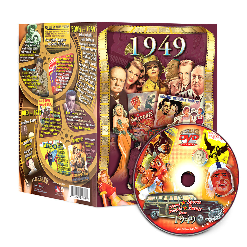 1949 Flickback DVD Video Greeting Card: 68th Birthday or Anniversary Gift