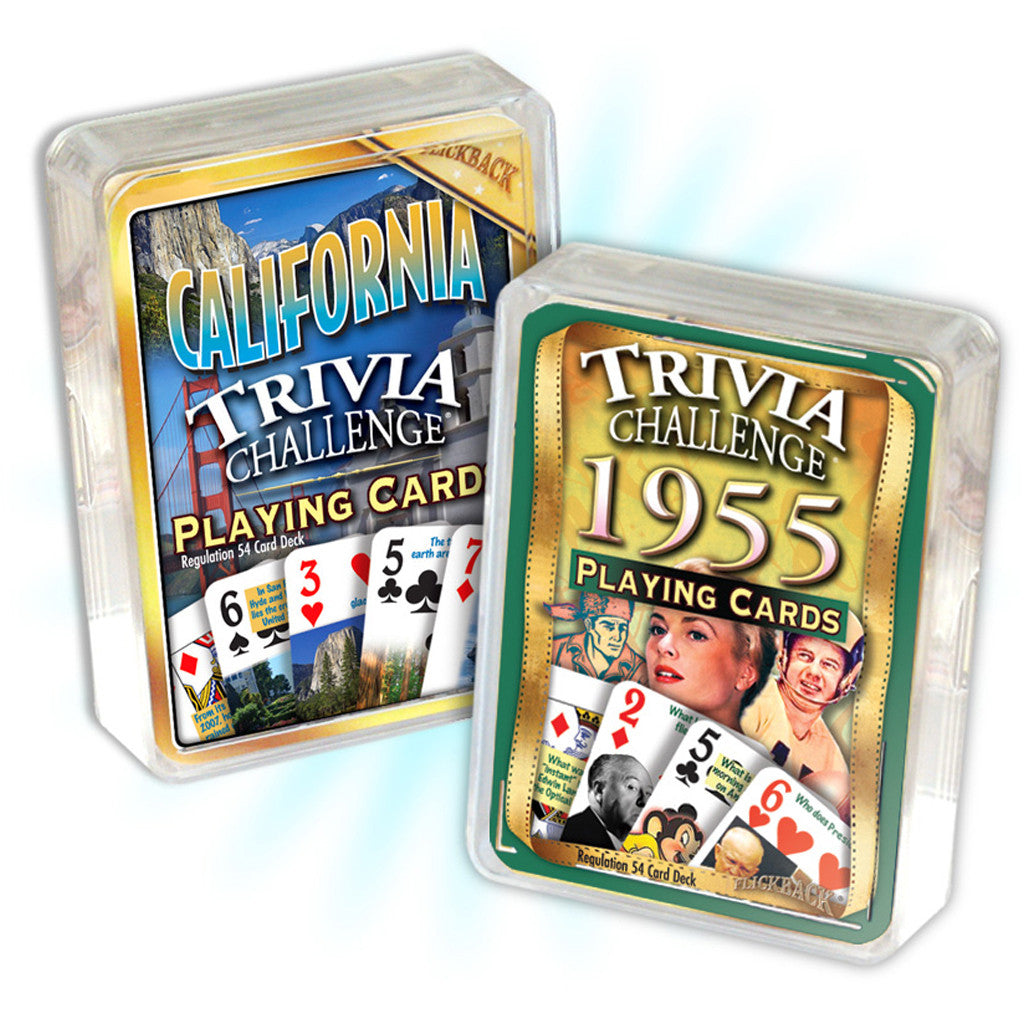1955 Birthday Trivia Combo: 1955 Trivia Playing Cards & California Trivia Playing Cards