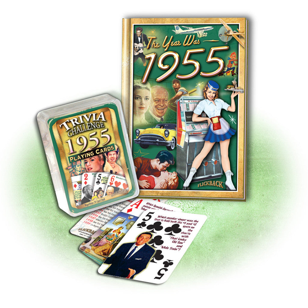 1955 Birthday Gift Set: 1955 MiniBook + 1955 Trivia Challenge Playing Cards