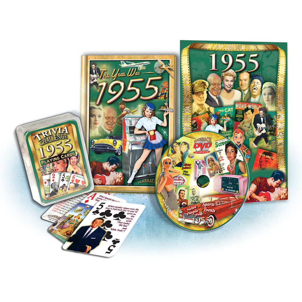 1955 Birthday Gift Set: 1955 MiniBook, DVD Greeting Card & Trivia Playing Cards
