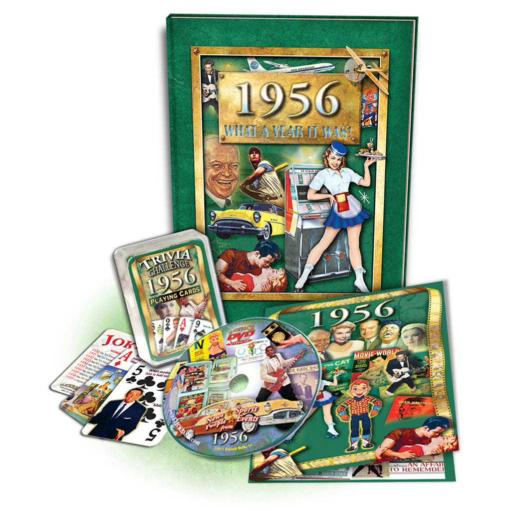 1956 Birthday Gift Set: 1956 What A Year it Was Book, DVD Greeting Card & Trivia Playing Cards