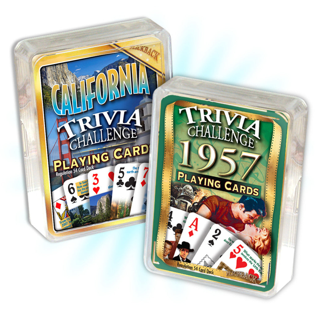 1957 Birthday Trivia Combo: 1957 Trivia Playing Cards & California Trivia Playing Cards