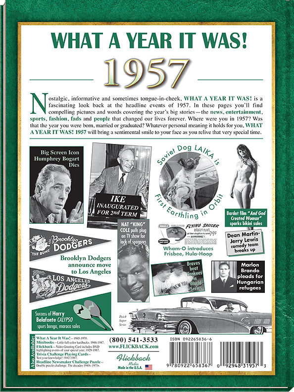 1957 A Year in History Birthday Fun Facts Sign Hang or Stand Great Gift NEW A18