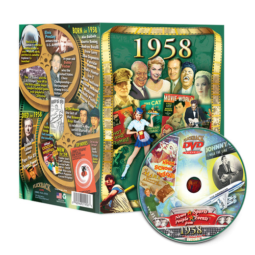 1958 Flickback DVD Video Greeting Card, 60th Birthday or Anniversary Gift