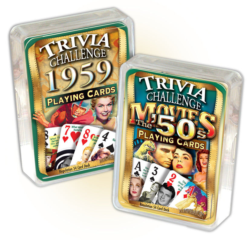1959 Trivia Challenge Playing Cards & 1950's Movie Trivia Playing Cards Combo, 60th Birthday or Anniversary