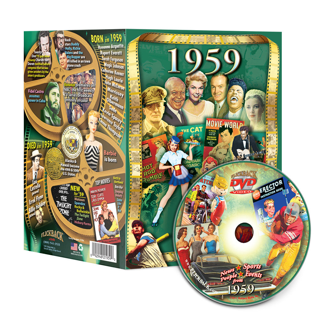 1959 Flickback DVD Video Greeting Card Happy 60th Birthday Or Anniversary Gift