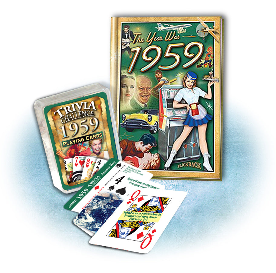 1959 Mini Book & Trivia Challenge Playing Card Combo, Birthday or Anniversary