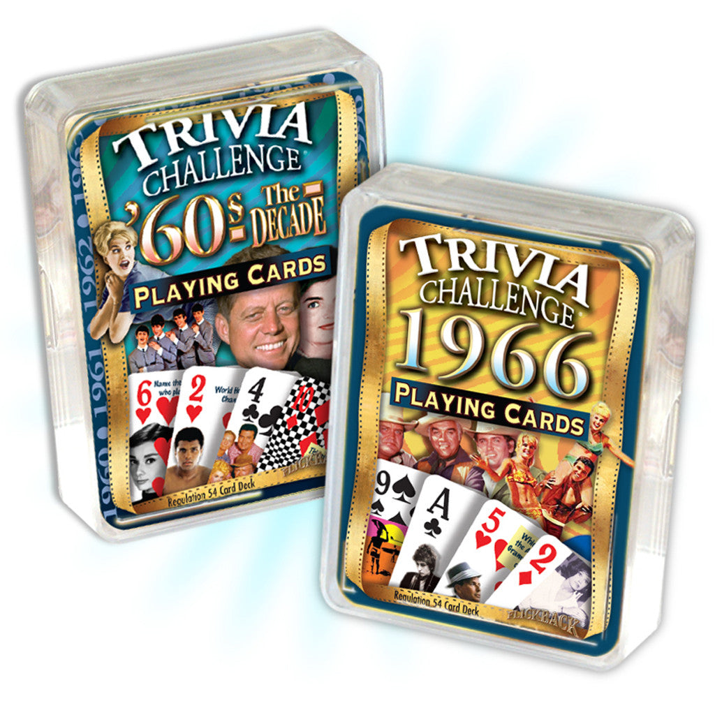 1966 Birthday Combo: 1966 Trivia Playing Cards & 1960s Decade Trivia Playing Cards