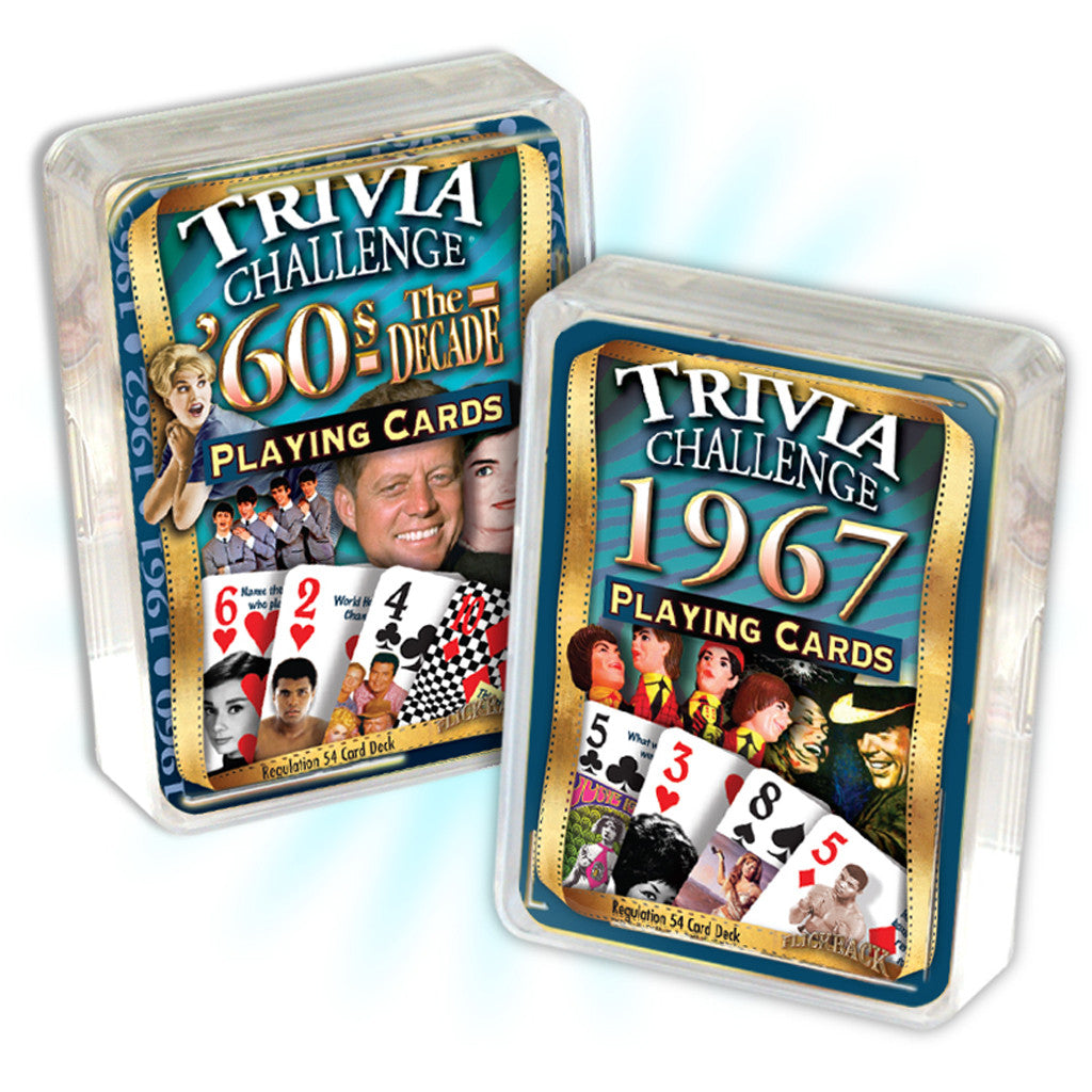 50th Birthday Combo: 1967 Trivia Playing Cards & 1960's Decade Trivia Playing Cards