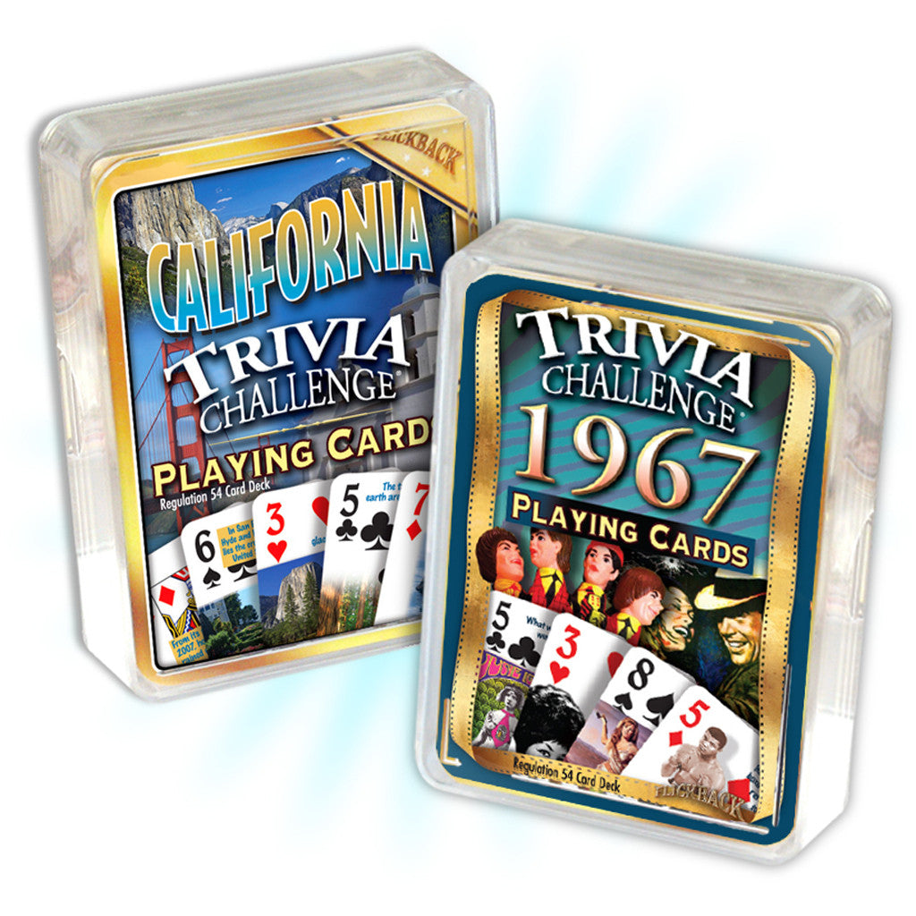 1967 Birthday Trivia Combo: 1967 Trivia Playing Cards & California Trivia Playing Cards