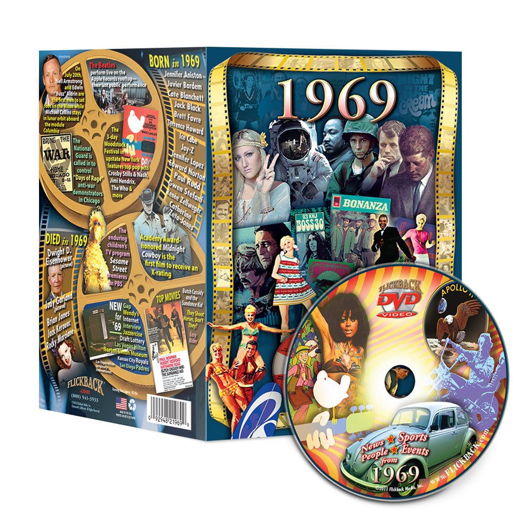 1969 Flickback DVD Video Greeting Card: Happy 50th Birthday or Anniversary Gift