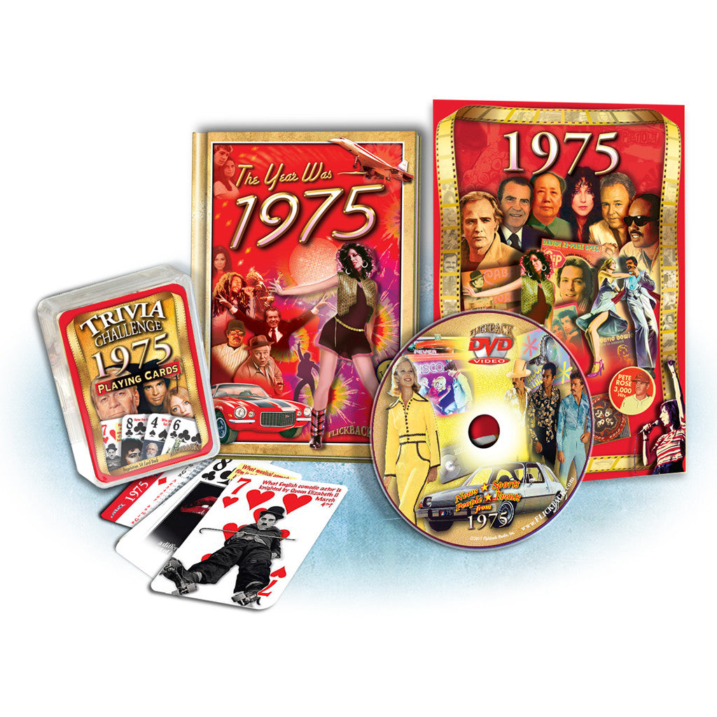 1975 Birthday Gift Set: 1975 MiniBook, DVD Greeting Card & Trivia Playing Cards