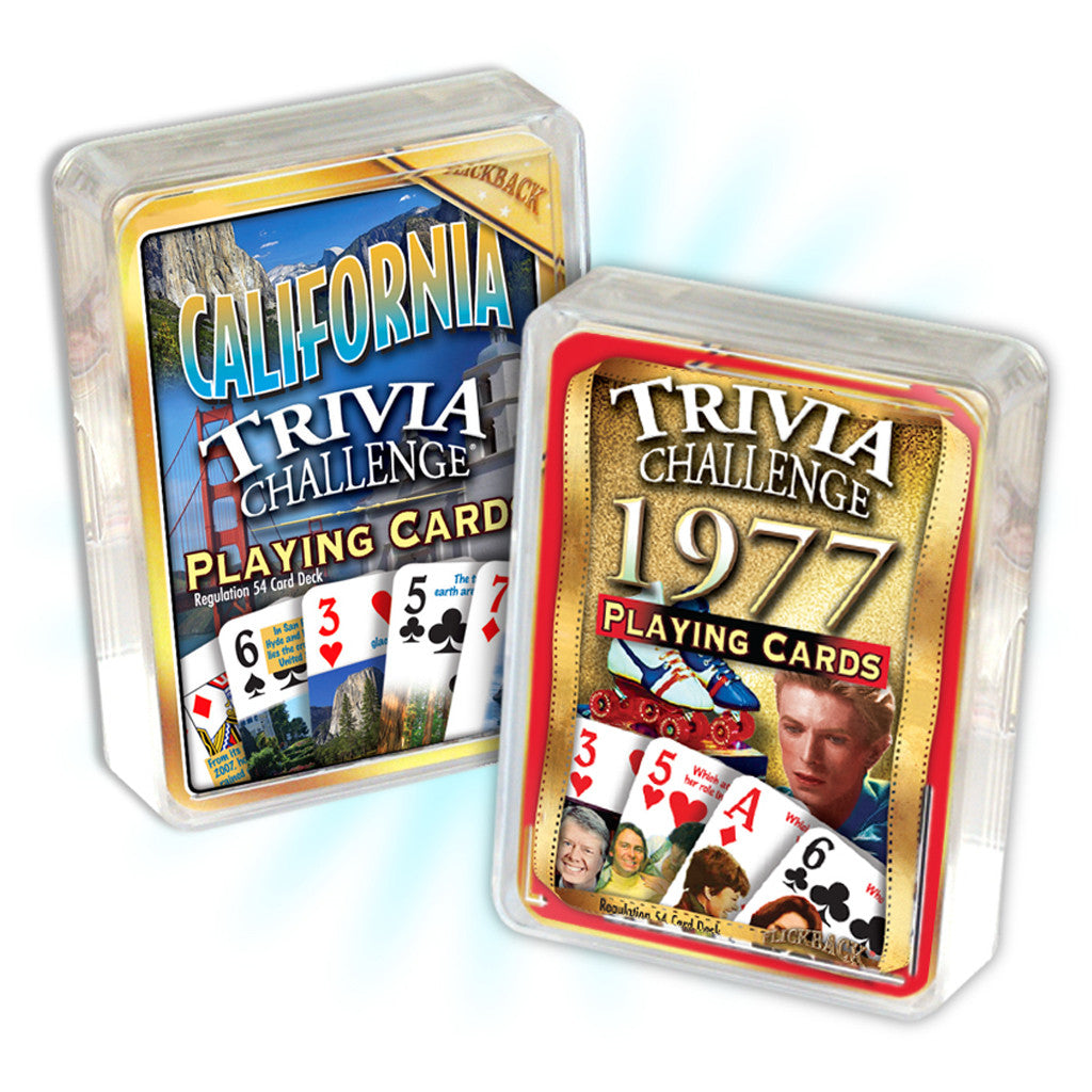 1977 Birthday Trivia Combo: 1977 Trivia Playing Cards & California Trivia Playing Cards