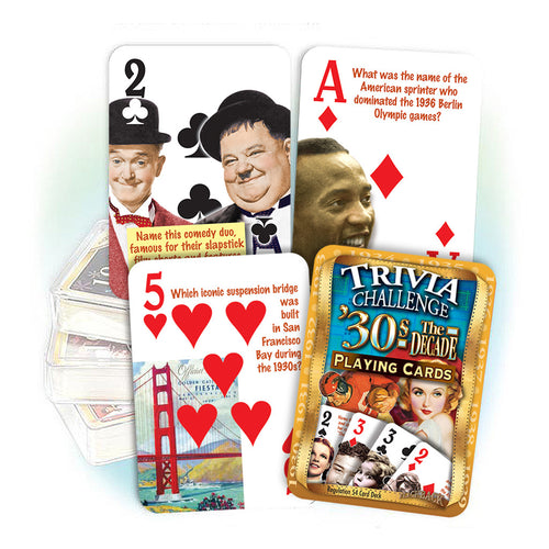 1930s Decade Trivia Challenge Playing Cards