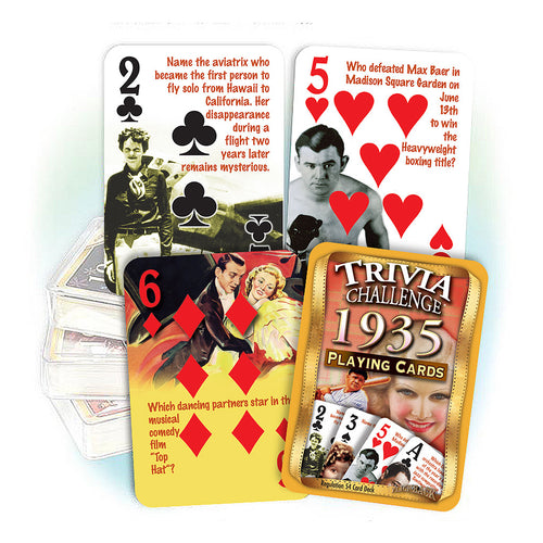 1935 Trivia Challenge Playing Cards: 83rd Birthday or Anniversary Gift