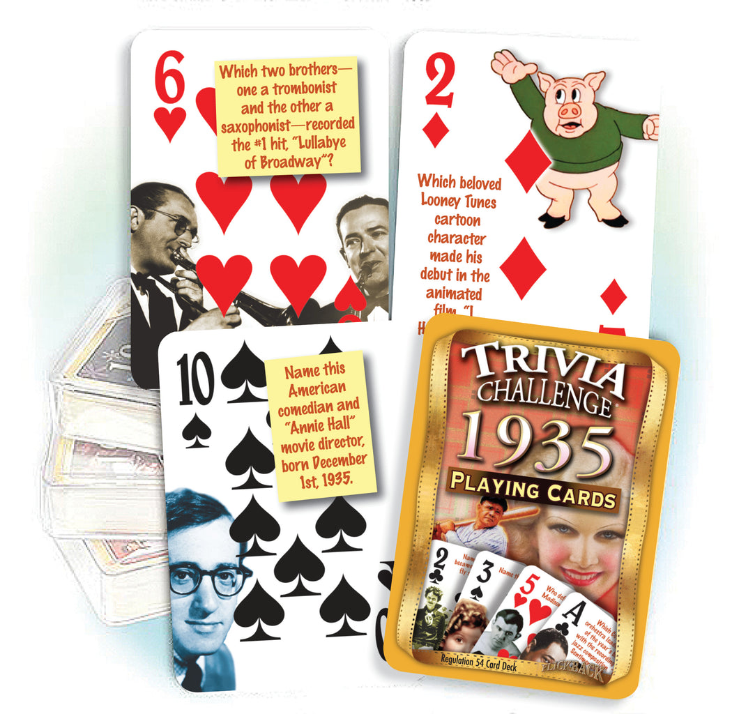1935 Birthday Gift Set: 1930's Decade DVD & 1935 Trivia Playing Cards