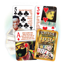 1936 Trivia Challenge Playing Cards: 82nd Birthday or Anniversary Gift