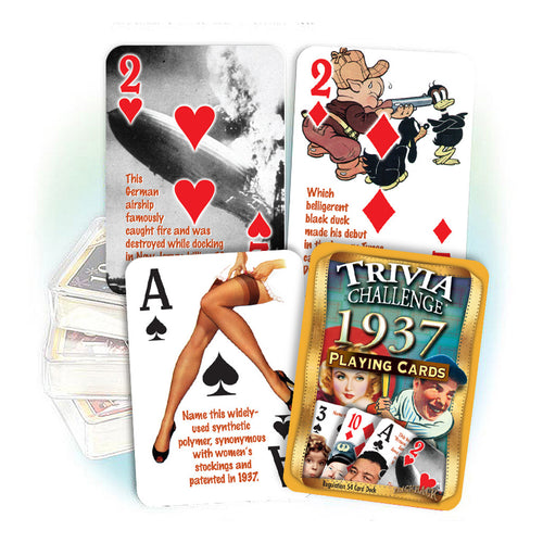 1937 Trivia Challenge Playing Cards: 81st Birthday or Anniversary Gift