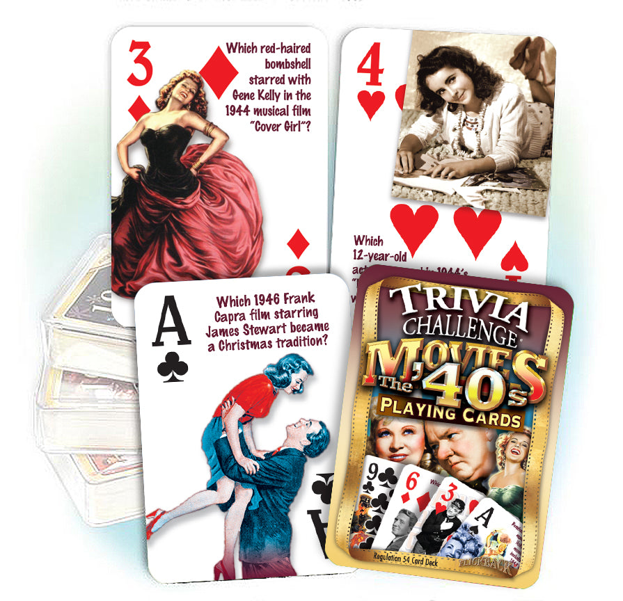1940's Movie Trivia Playing Cards: 80th Birthday or Anniversary