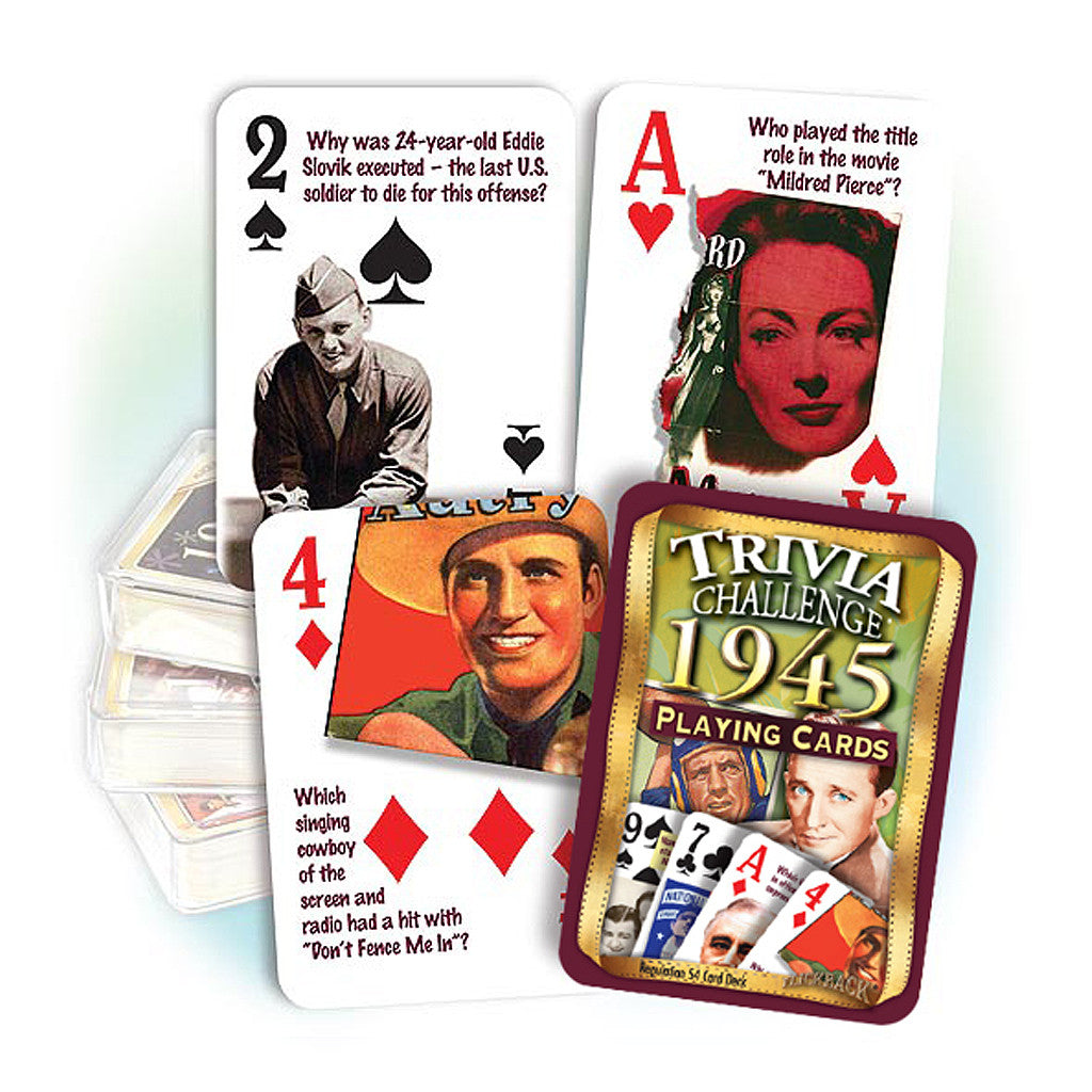 1945 Trivia Challenge Playing Cards: 73rd Birthday or Anniversary Gift