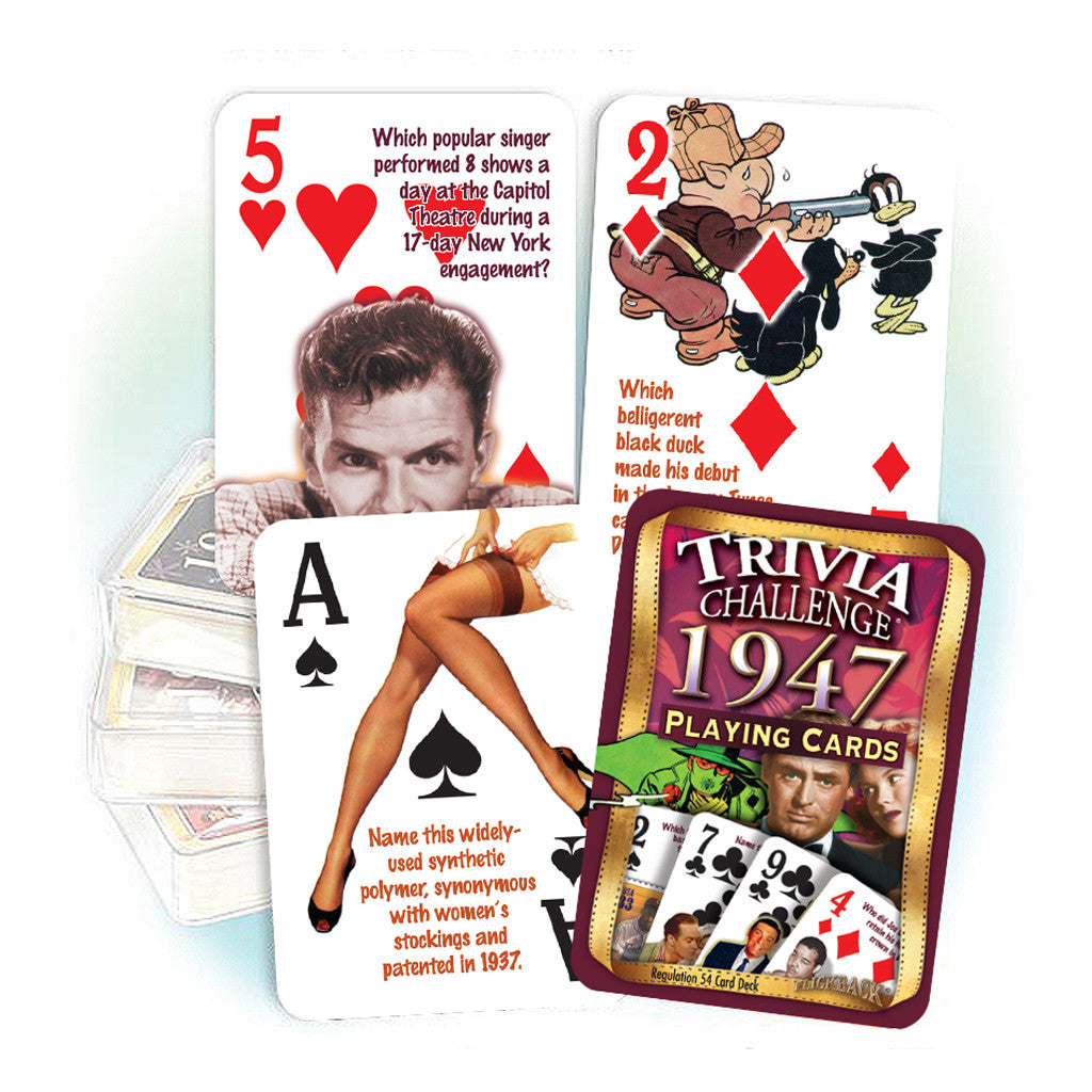 1947 Trivia Challenge Playing Cards: Great Birthday or Anniversary Gift