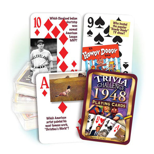 1948 Trivia Challenge Playing Cards: 70th Birthday or Anniversary Gift