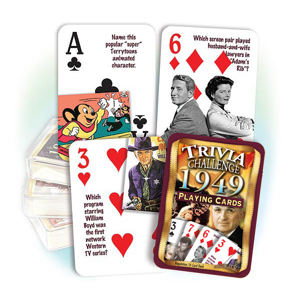 1949 Trivia Challenge Playing Cards: Happy Birthday or Anniversary Gift