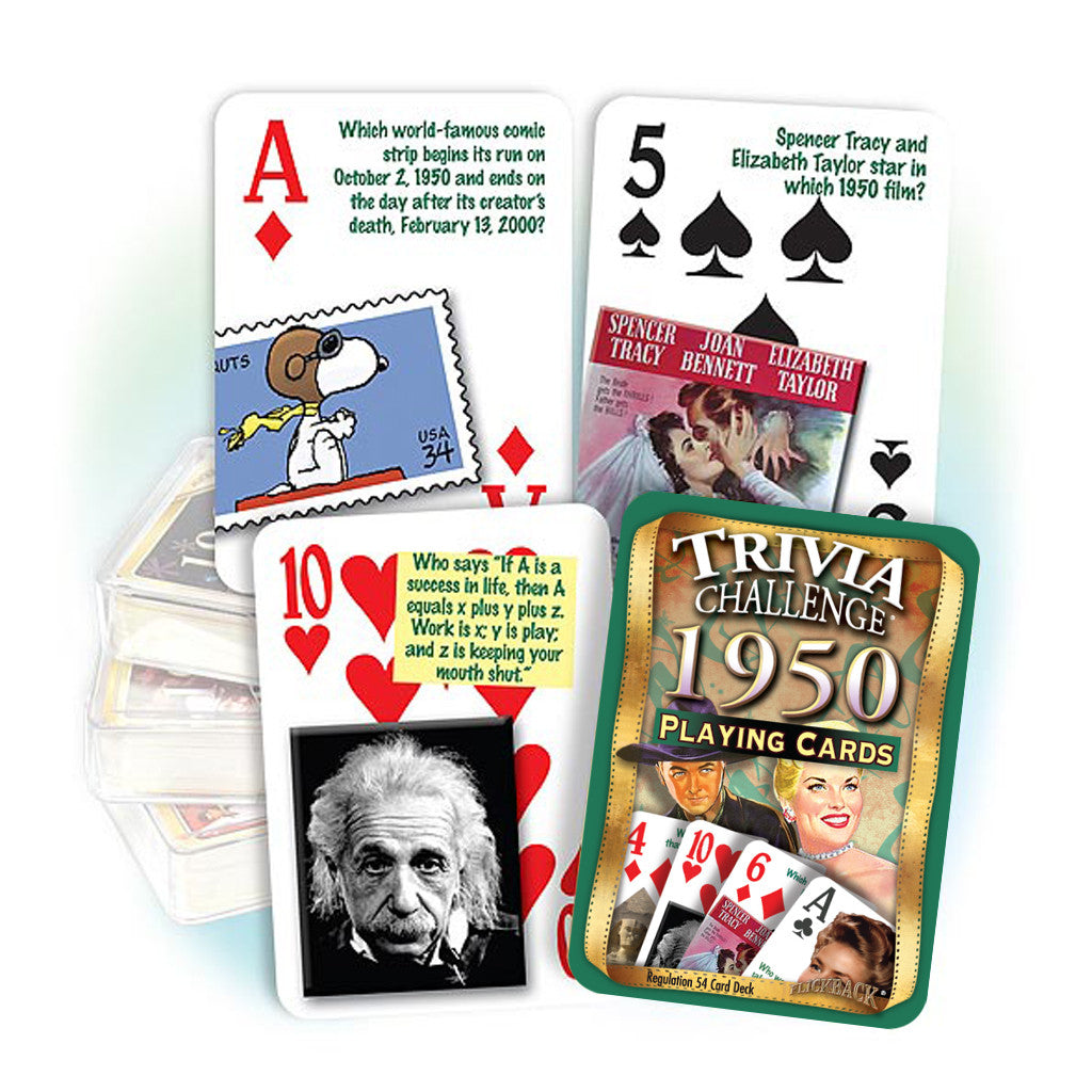 1950 Trivia Challenge Playing Cards: 70th Birthday or Anniversary Gift