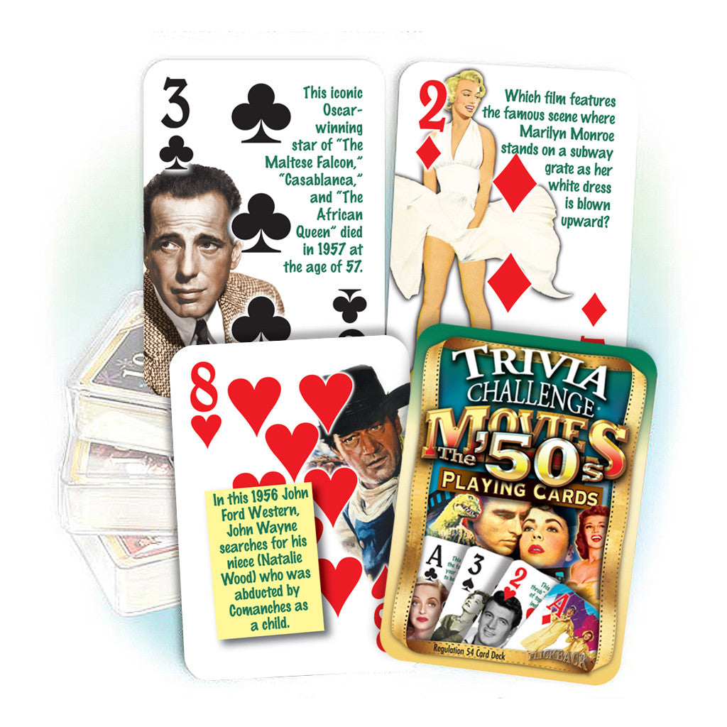 1950s Movies Trivia Challenge Playing Cards: 70th Birthday or Anniversary Gift