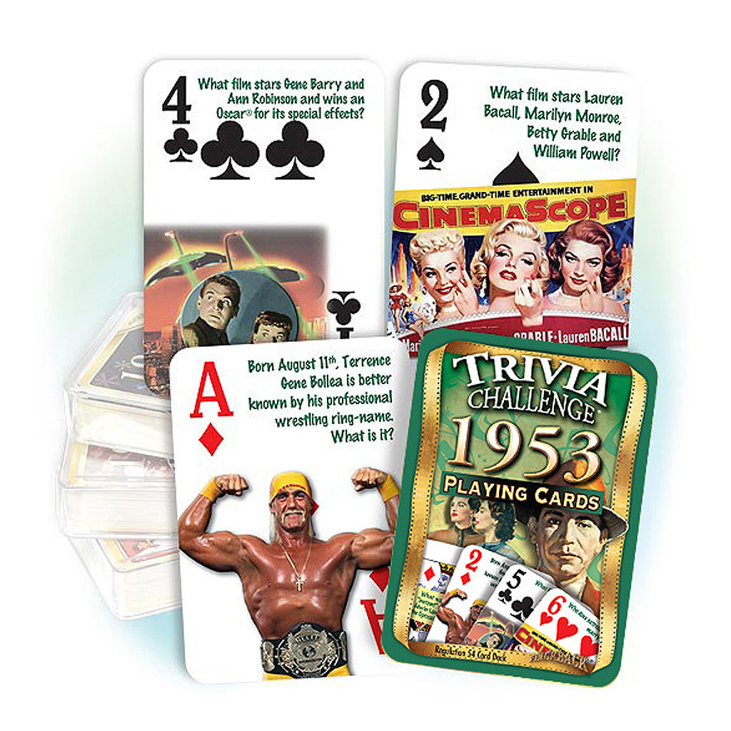 1953 Trivia Challenge Playing Cards: Great Birthday or Anniversary Gift