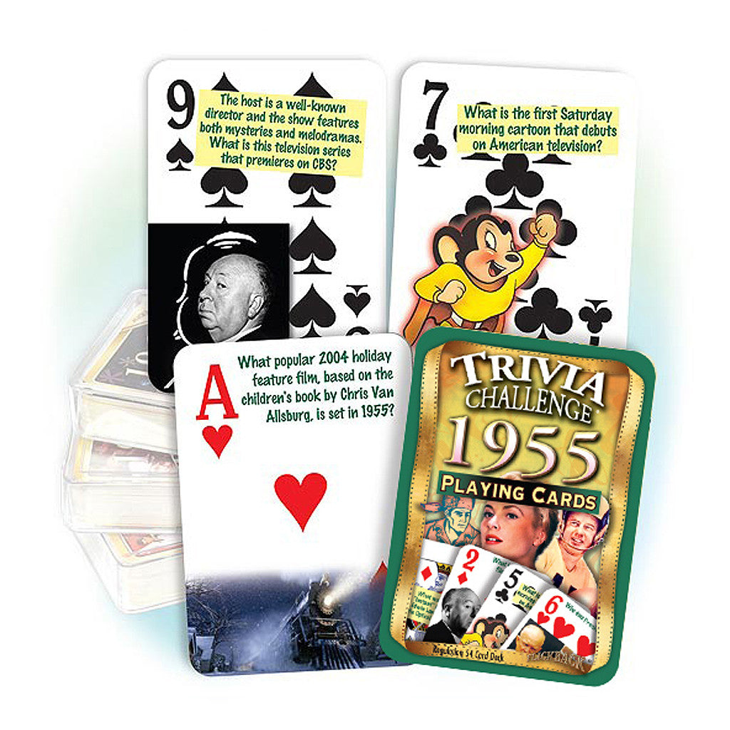 1955 Trivia Challenge Playing Cards: 62nd Birthday or Anniversary Gift