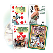 1958 Trivia Challenge Playing Cards: 60th Birthday or Anniversary Gift