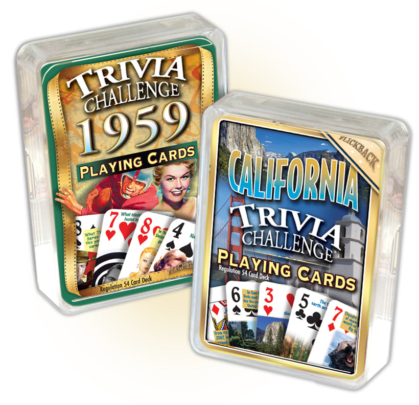1959 Trivia Challenge Playing Cards and California Trivia Playing Cards Combo 59th Birthday or Anniversary