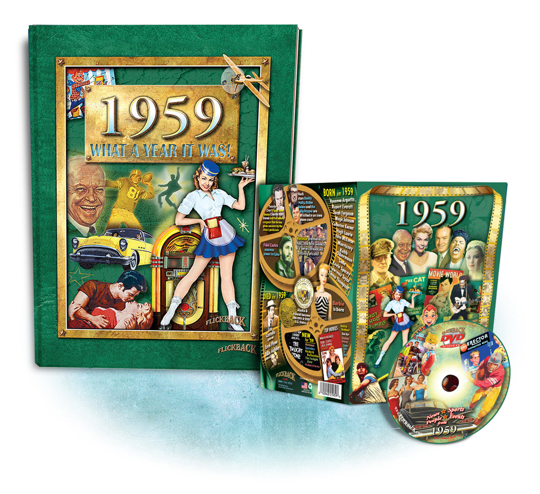 1959 What A Year It Was! Coffee Table Book & 1959 DVD Combo, Birthday or Anniversary