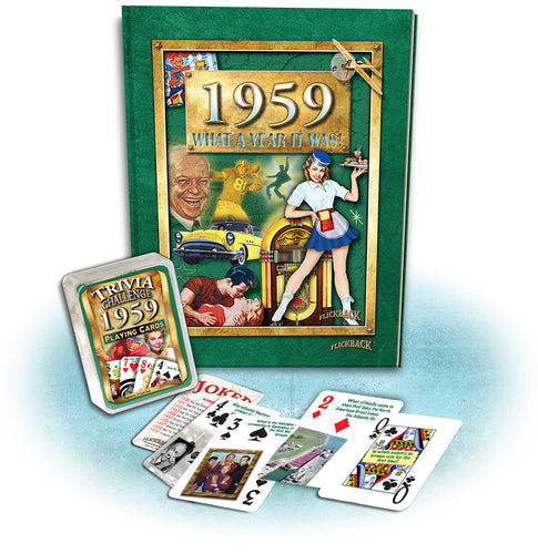 1959 What A Year It Was! Hard Cover Coffee Table Book & 1959 Trivia Challenge Playing Cards Combo 59th Birthday or Anniversary