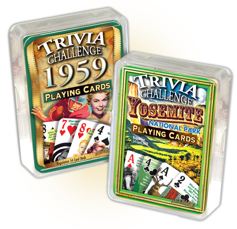1959 Trivia Challenge Playing Cards & Yosemite Trivia Playing Cards Combo, 60th Birthday or Anniversary
