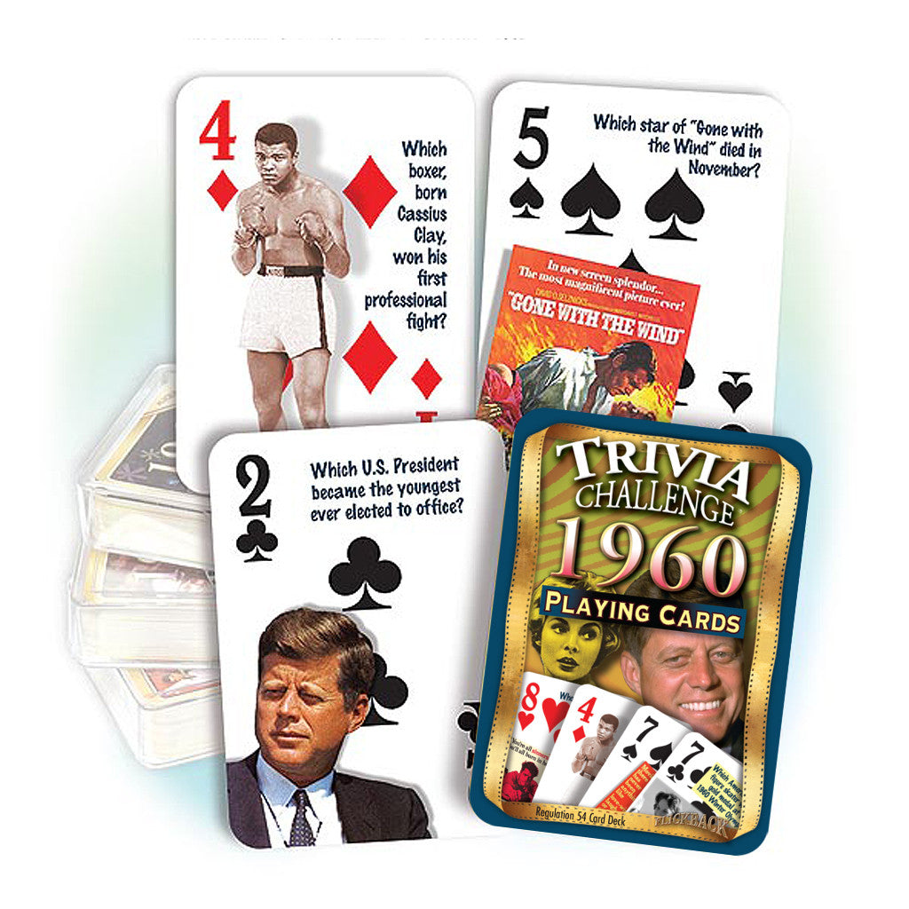 1960 Trivia Challenge Playing Cards: Great 60th Birthday or Anniversary Gift