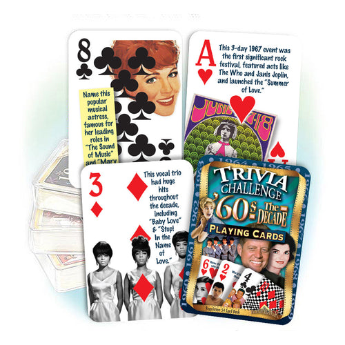 1960s Decade Trivia Playing Cards: 60th Birthday or Anniversary