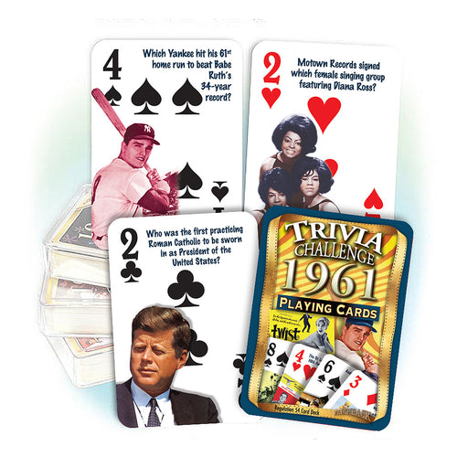 1961 Trivia Challenge Playing Cards: 60th Birthday or Anniversary Gift