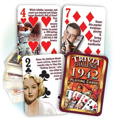 1942 Trivia Challenge Playing Cards: Birthday or Anniversary Gift