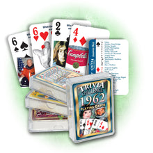 1962 Trivia Challenge Playing Cards: Great 55th Birthday or Anniversary Gift