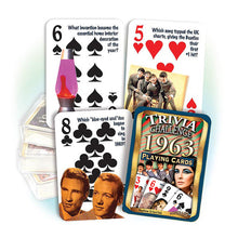 1963 Trivia Challenge Playing Cards: Great 55th Birthday or Anniversary Gift