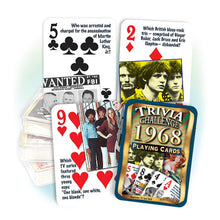 1968 Trivia Challenge Playing Cards: 50th Birthday or Anniversary Gift
