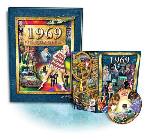 1969 What A Year It Was! Hard Cover Coffee Table Book & 1969 DVD Combo 49th Birthday or Anniversary